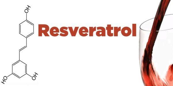 molécula resveratrol y copa de vino