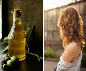 aceite de oliva en pelo de mujer
