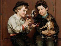 niños y perro