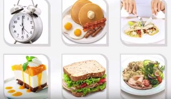 alimentos en diferentes comidas